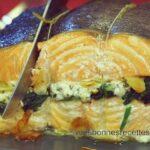 Rôti de saumon aux épinards et chèvre frais