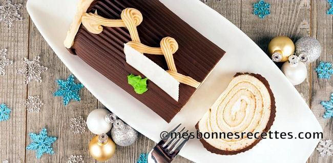 Bûche chocolat, caramel et poire