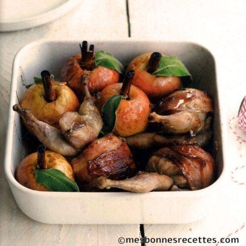 Cailles farcies jambon de Parme et pommes au four