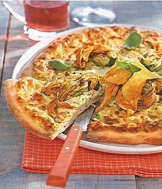 Pizza aux fleurs de courgettes