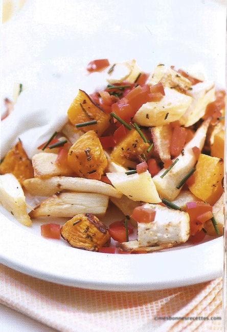 Légumes racines rôtis au yaourt