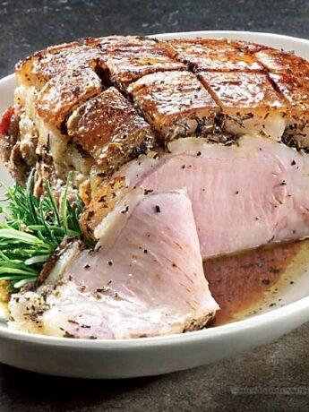 Rôti de porc avec sa couenne